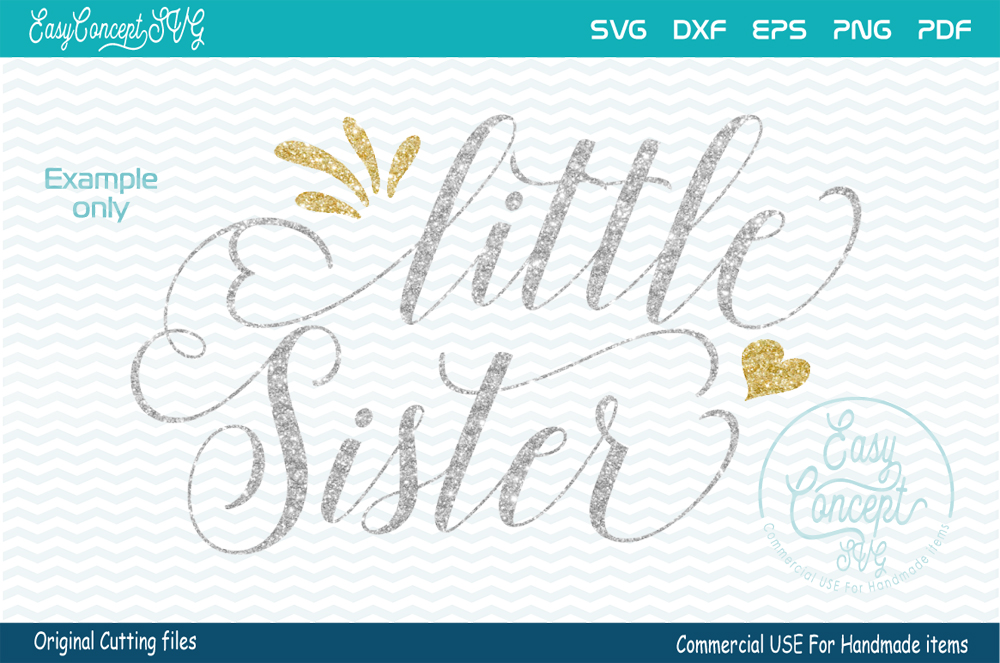 Little Sister, SVG DXF Png Eps Pdf Studio Vector Cut Files example image 1
