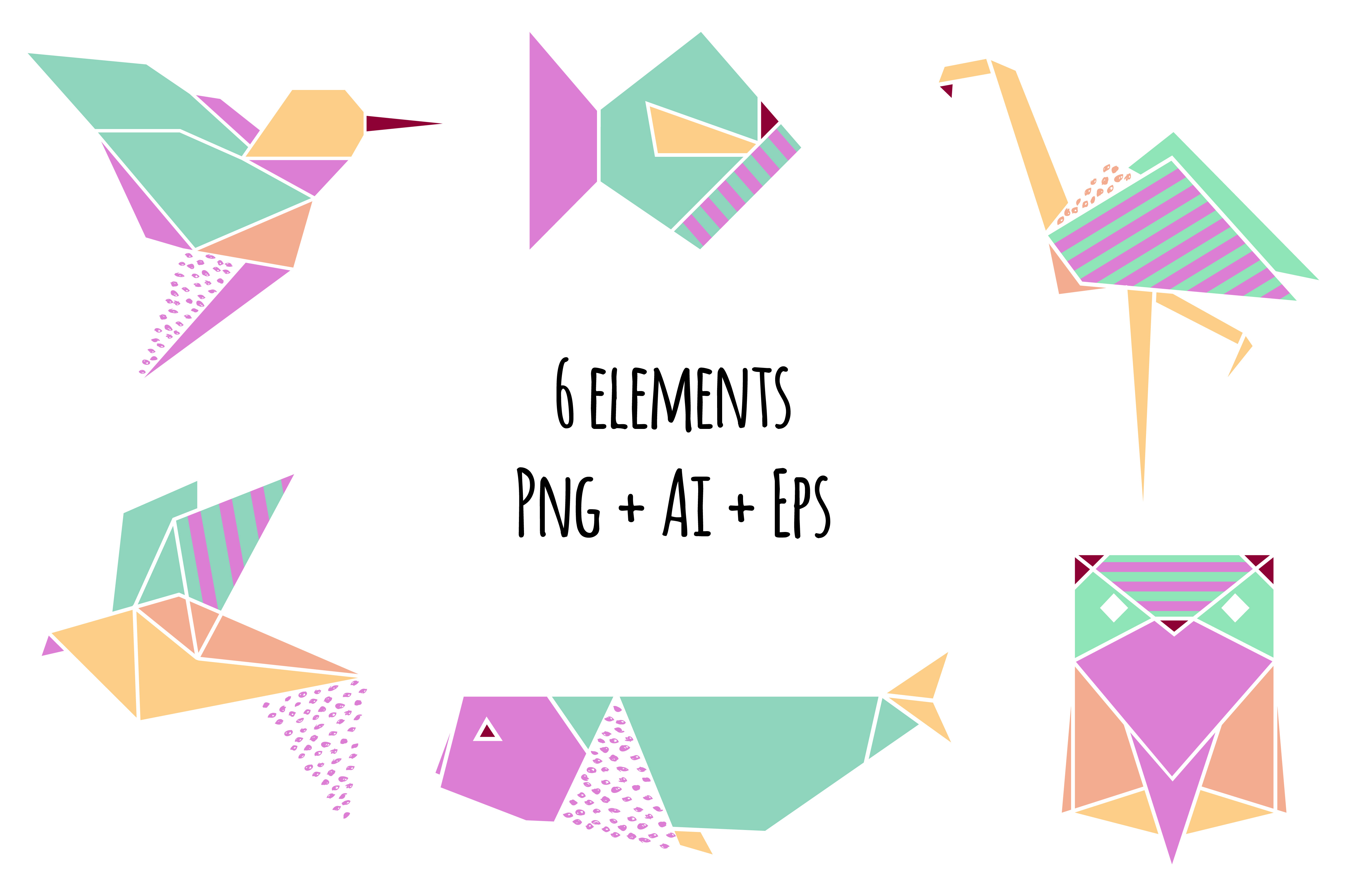 Origami Clipart Set - Png+Ai+Eps example image 2