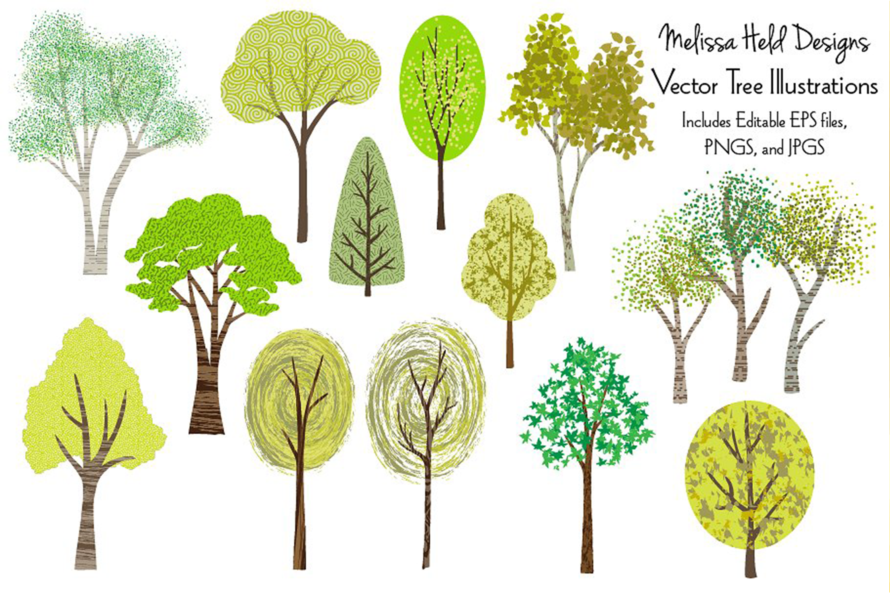 Vector Tree Illustrations example image 1