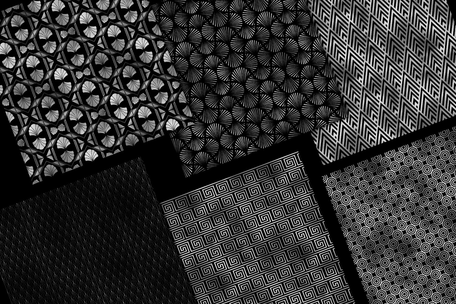 Black and Silver Art Deco Digital Paper example image 6