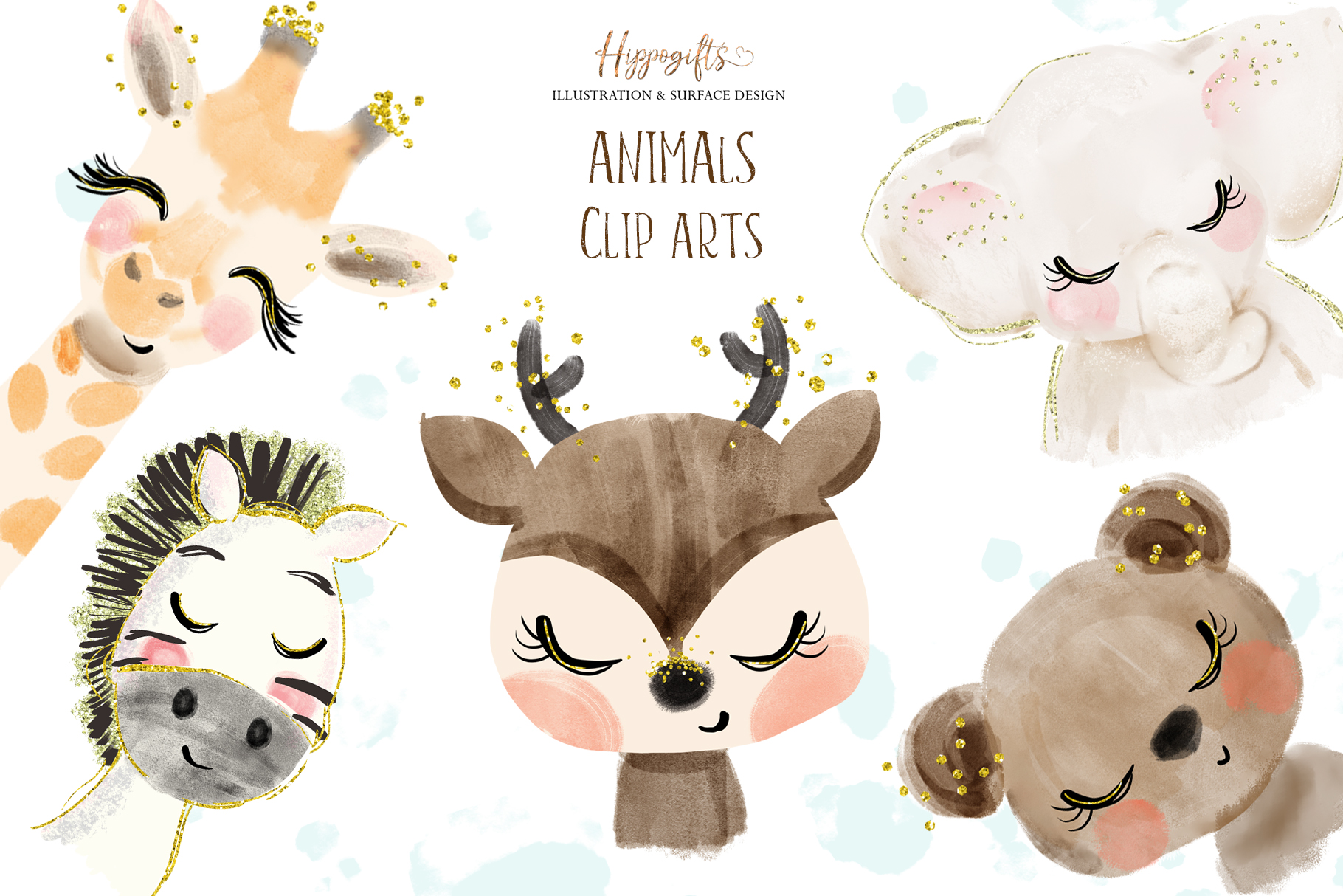 Watercolor animals illustration example image 1