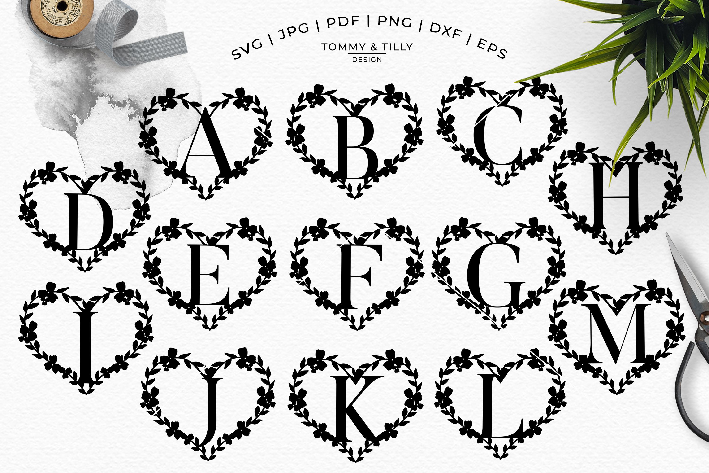 Heart A-Z Alphabet - Papercut SVG DXF PNG EPS JPG PDF example image 8
