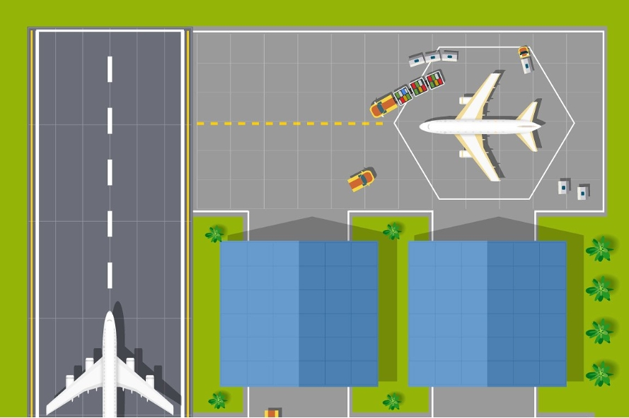 A large industrial city airport. example image 3