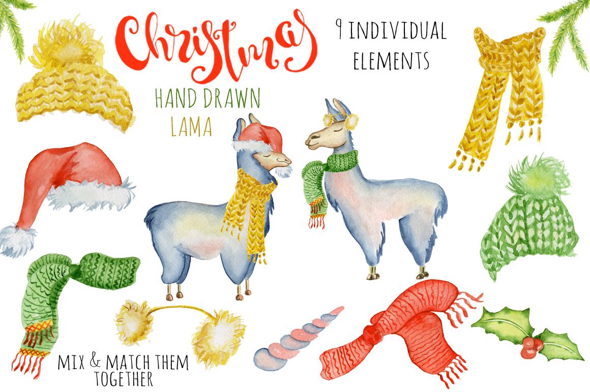 Christmas lama watercolor creator 2 example image 2