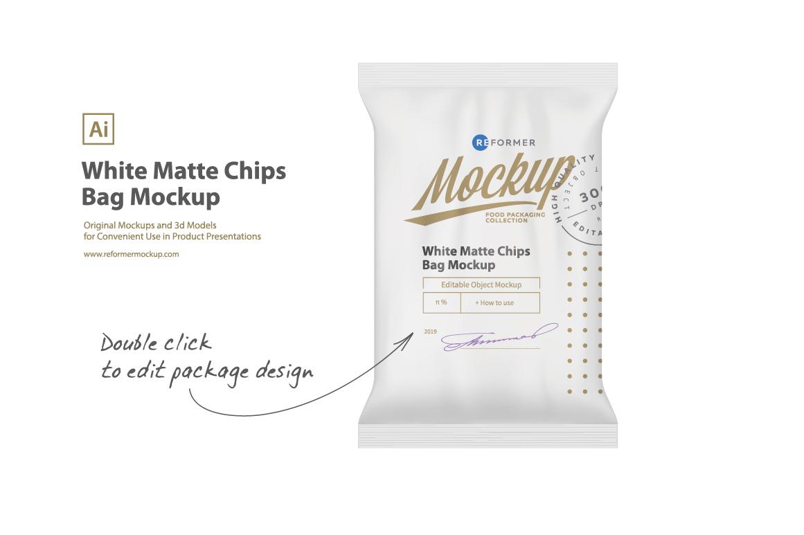 White Matte Chips Bag Mockup example image 1