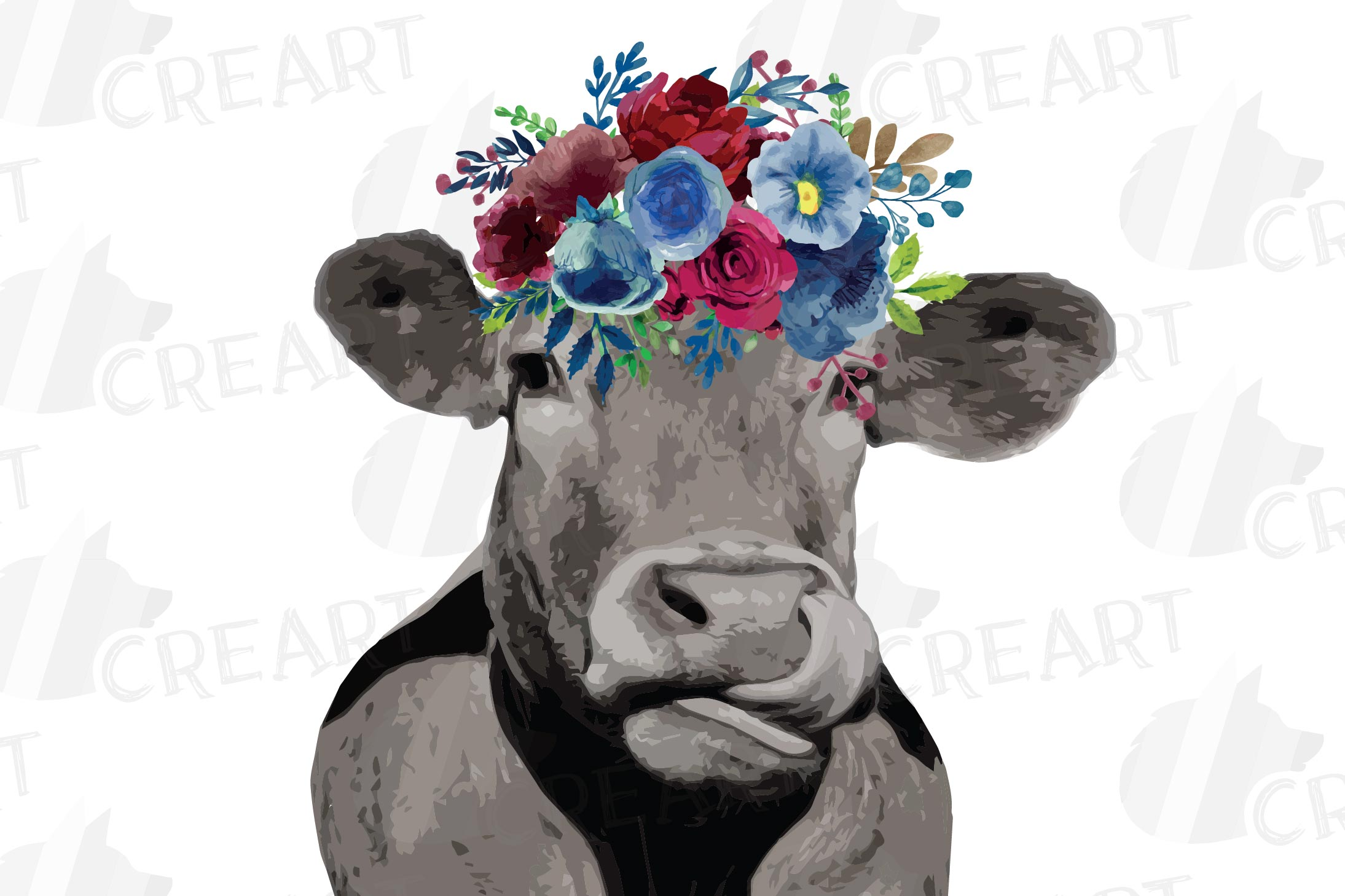 Floral cow printable gift graphic. Farmhouse wall decoration example image 3