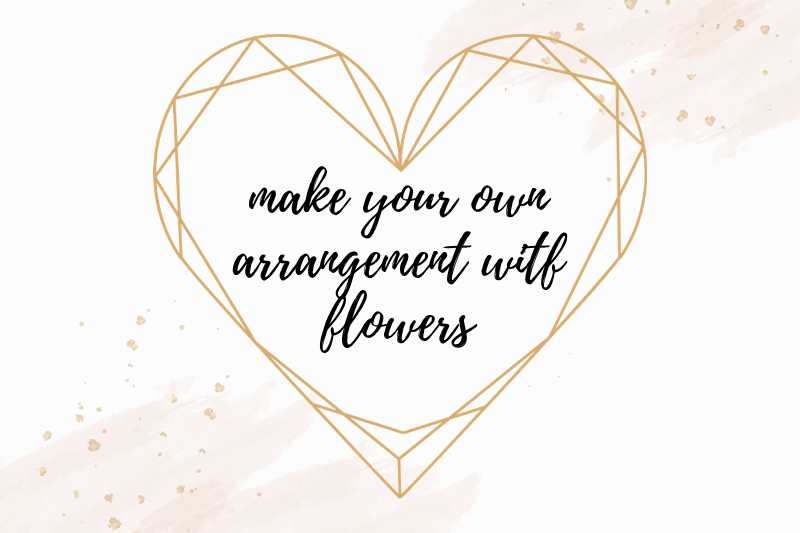 Heart Shaped Watercolor Flowers Frames, Geometric Gold Frame example image 8