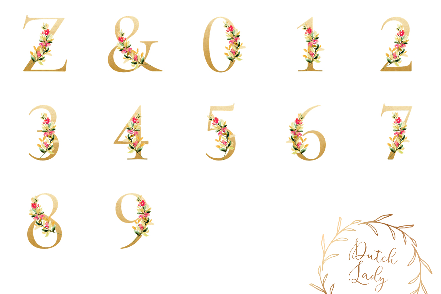 Floral Alphabet & Number Clipart Set #2 example image 2
