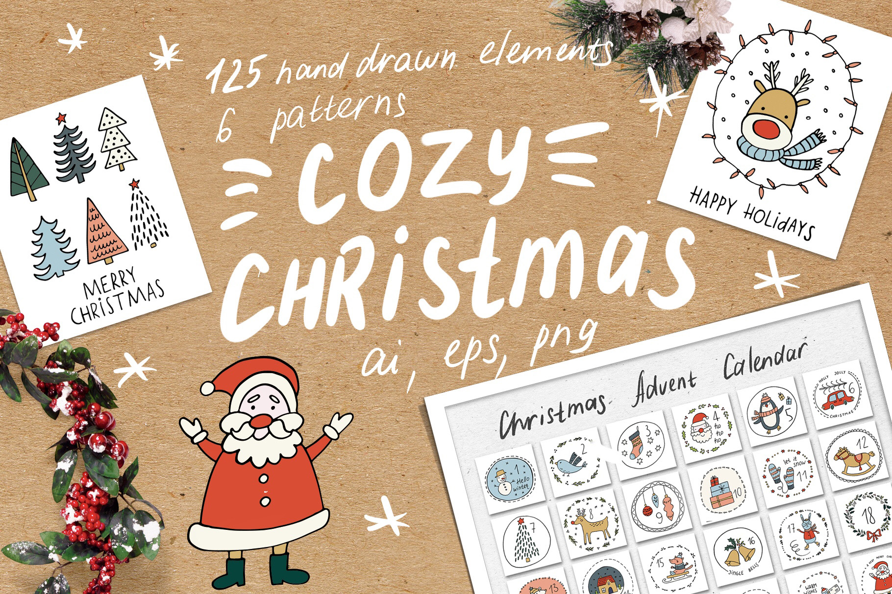 Cozy Christmas Clipart example image 1