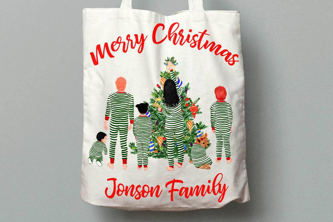 Christmas family clipart, Matching pajamas, Christmas Tree example image 4