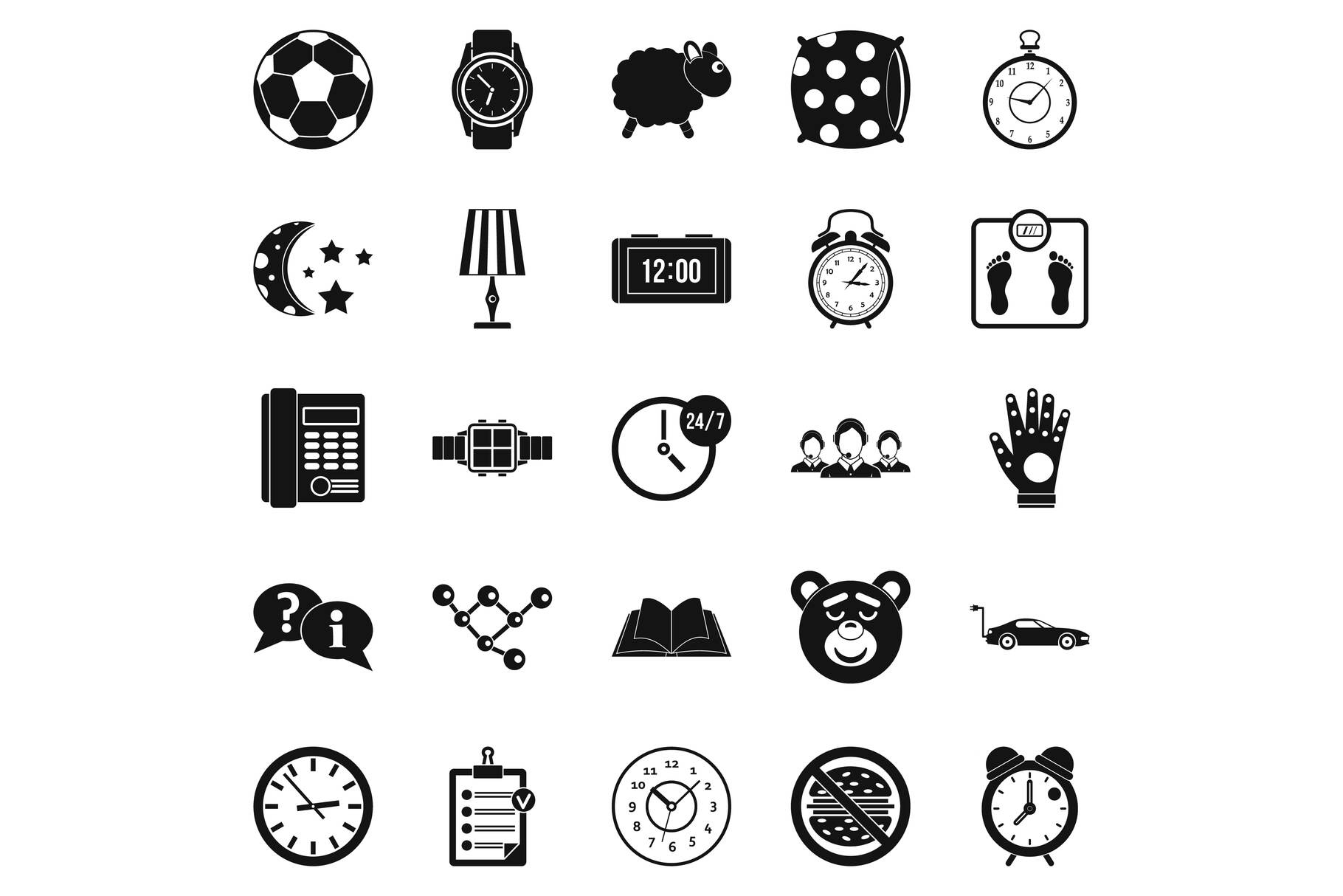 Watch icons set, simple style example image 1