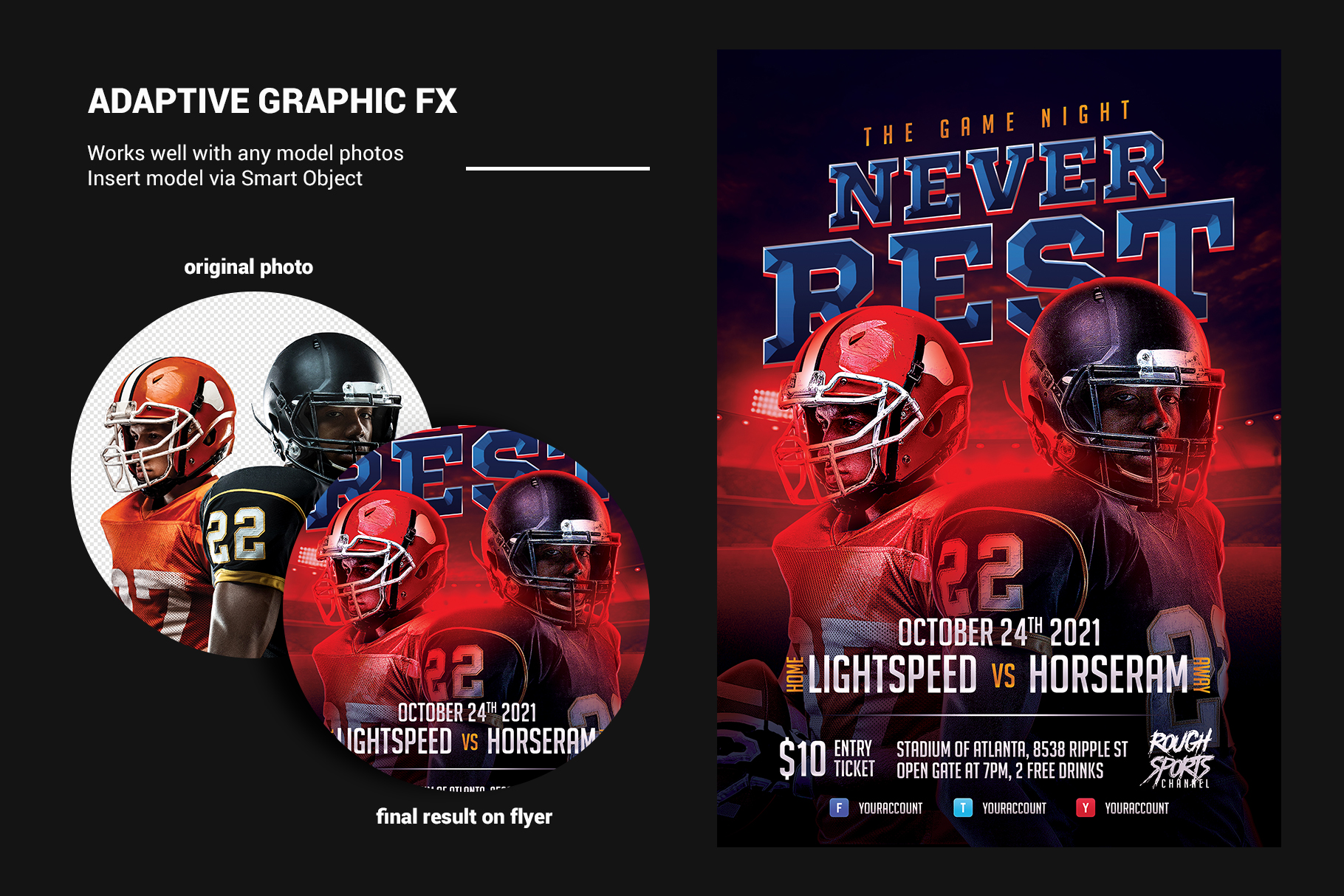 Football Game Flyer Template example image 3
