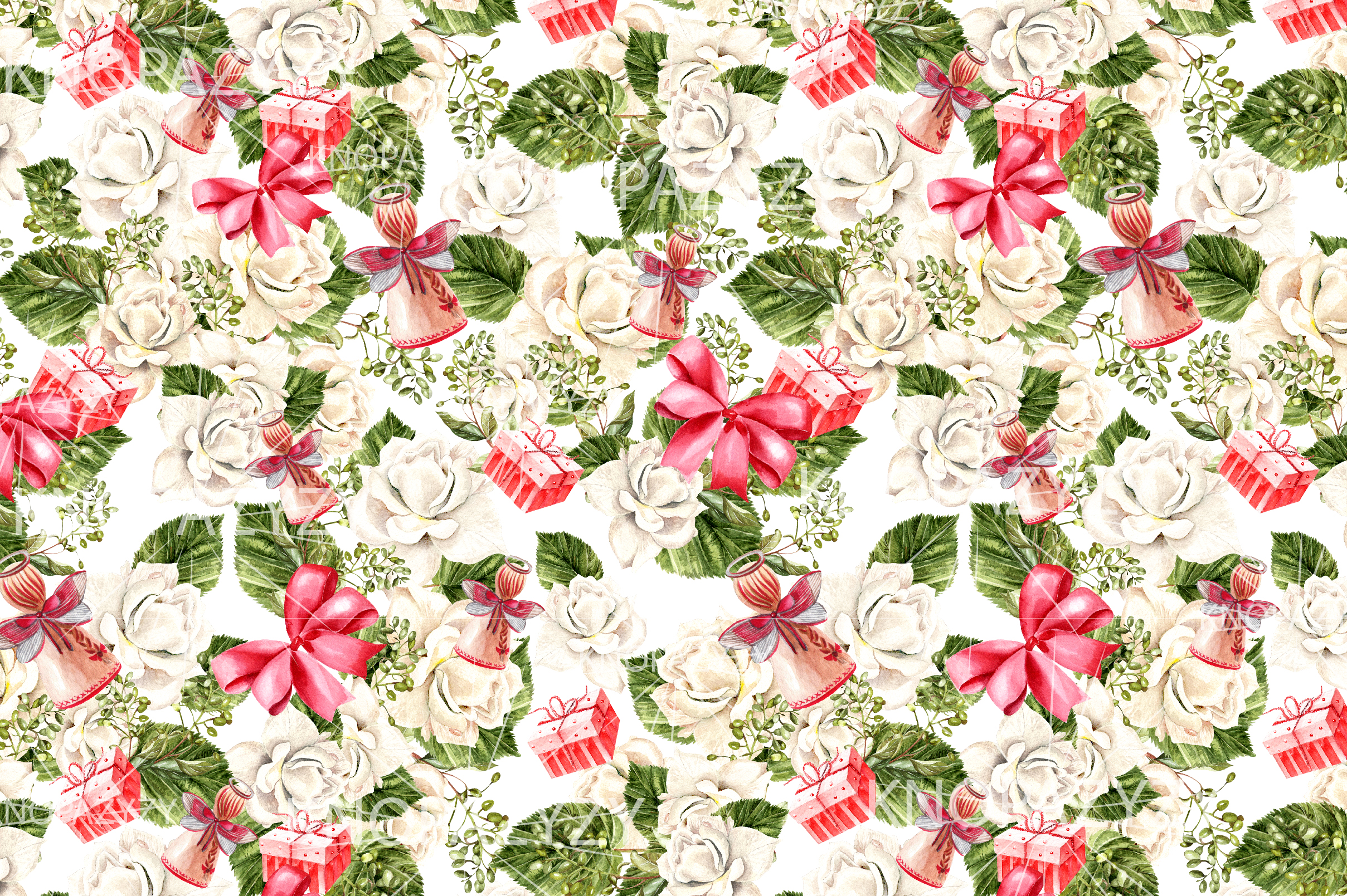 Hand Drawn Watercolor Christmas 13 Patterns example image 5