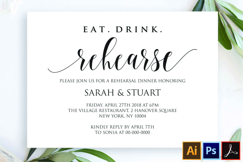 Eat Drink Rehearse Rehearsal dinner invitation template