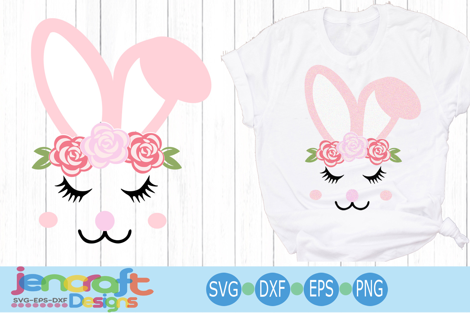 Floral Girl Easter Bunny Face Eyelashes svg, eps, dxf example image 1