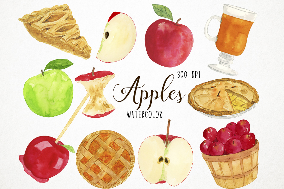 Watercolor Apples Clipart, Apples Clip Art, Fall Clipart example image 1