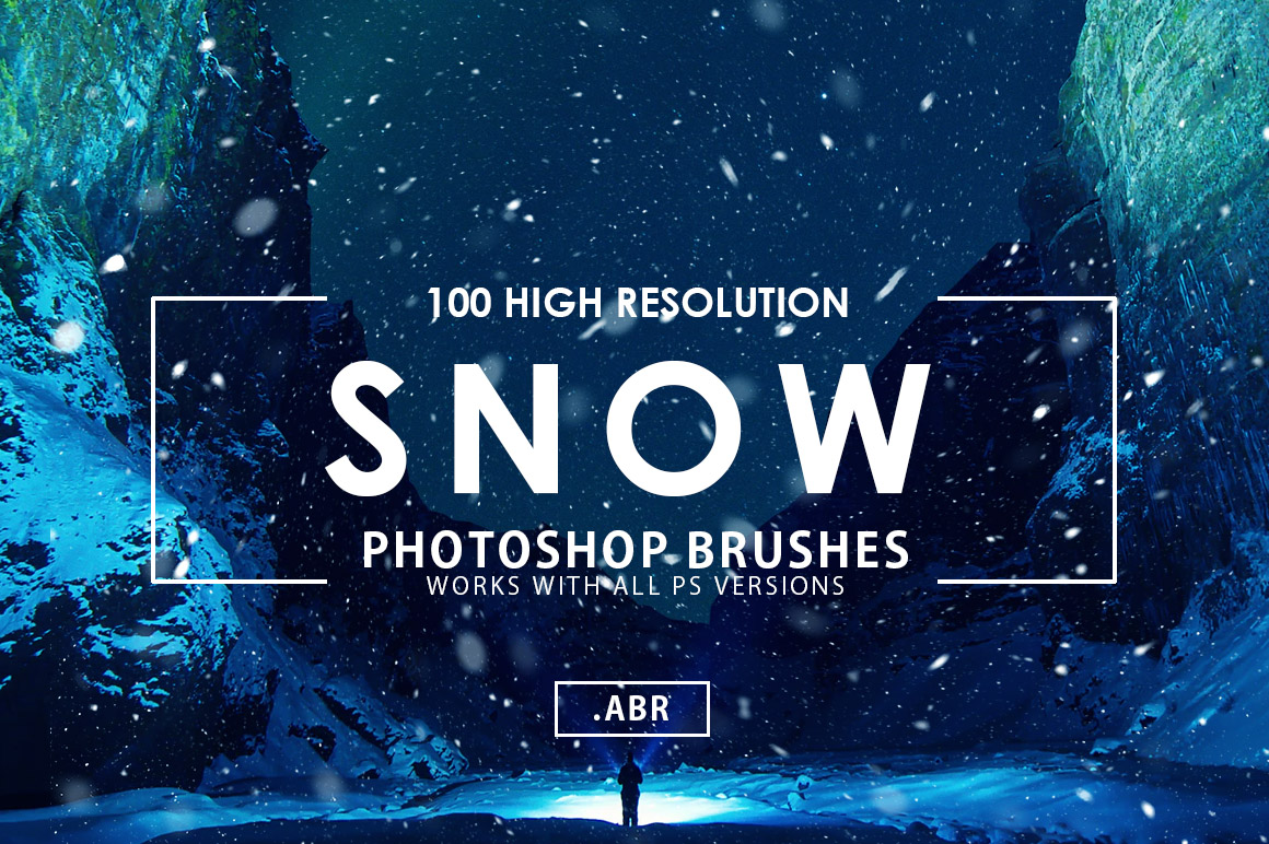 100 Snow Photoshop Brushes example image 1