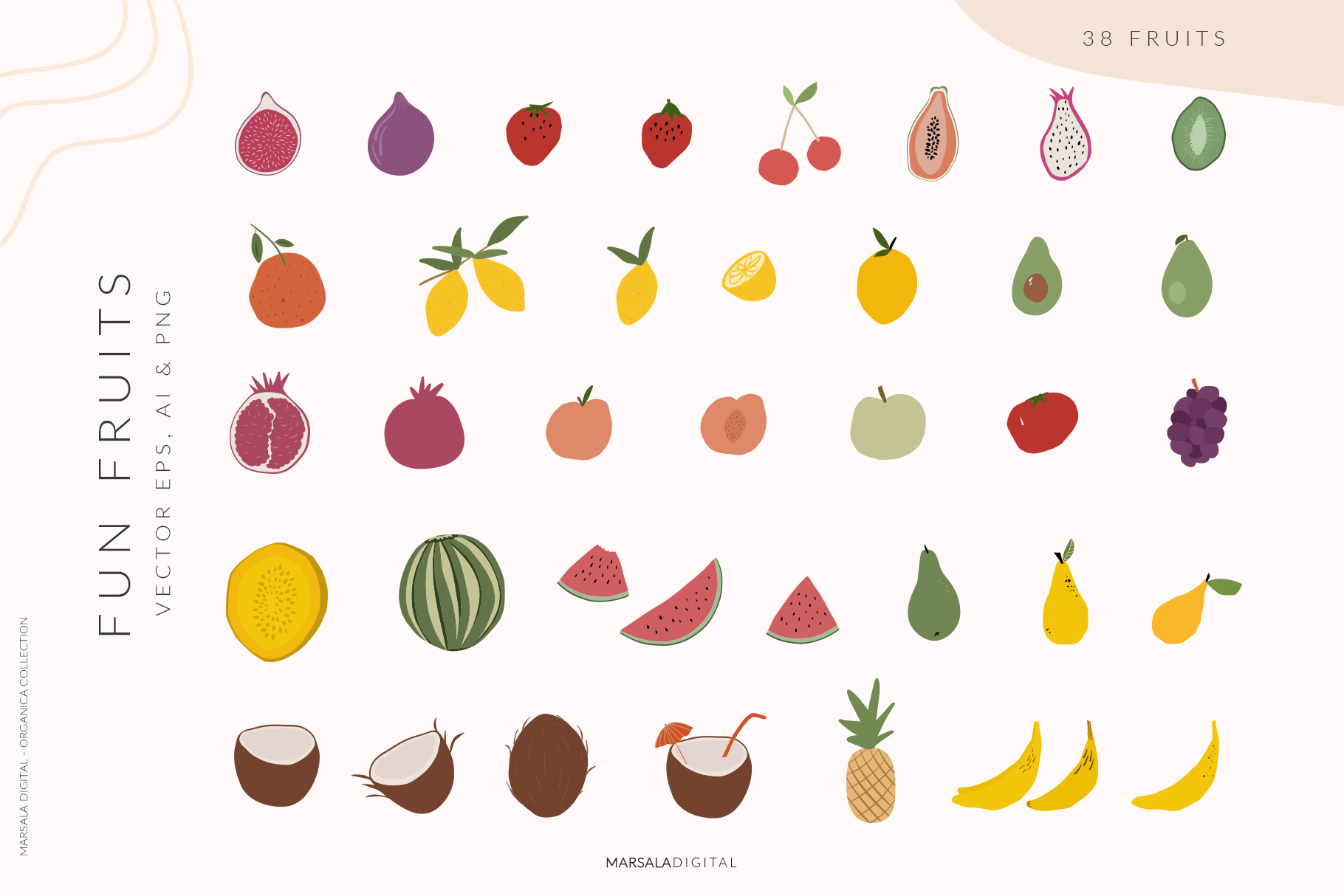 Abstract Shapes & Fun Fruits Patterns and Graphics example image 3