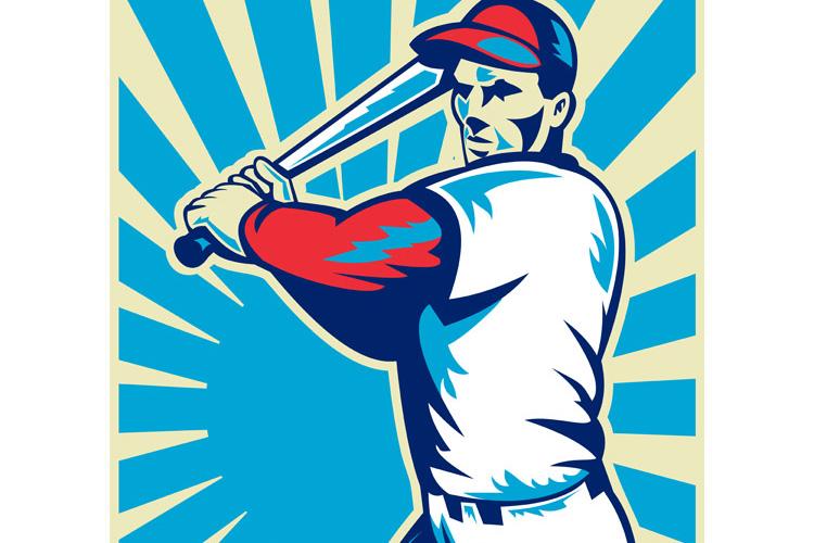 Baseball player with bat batting example image 1
