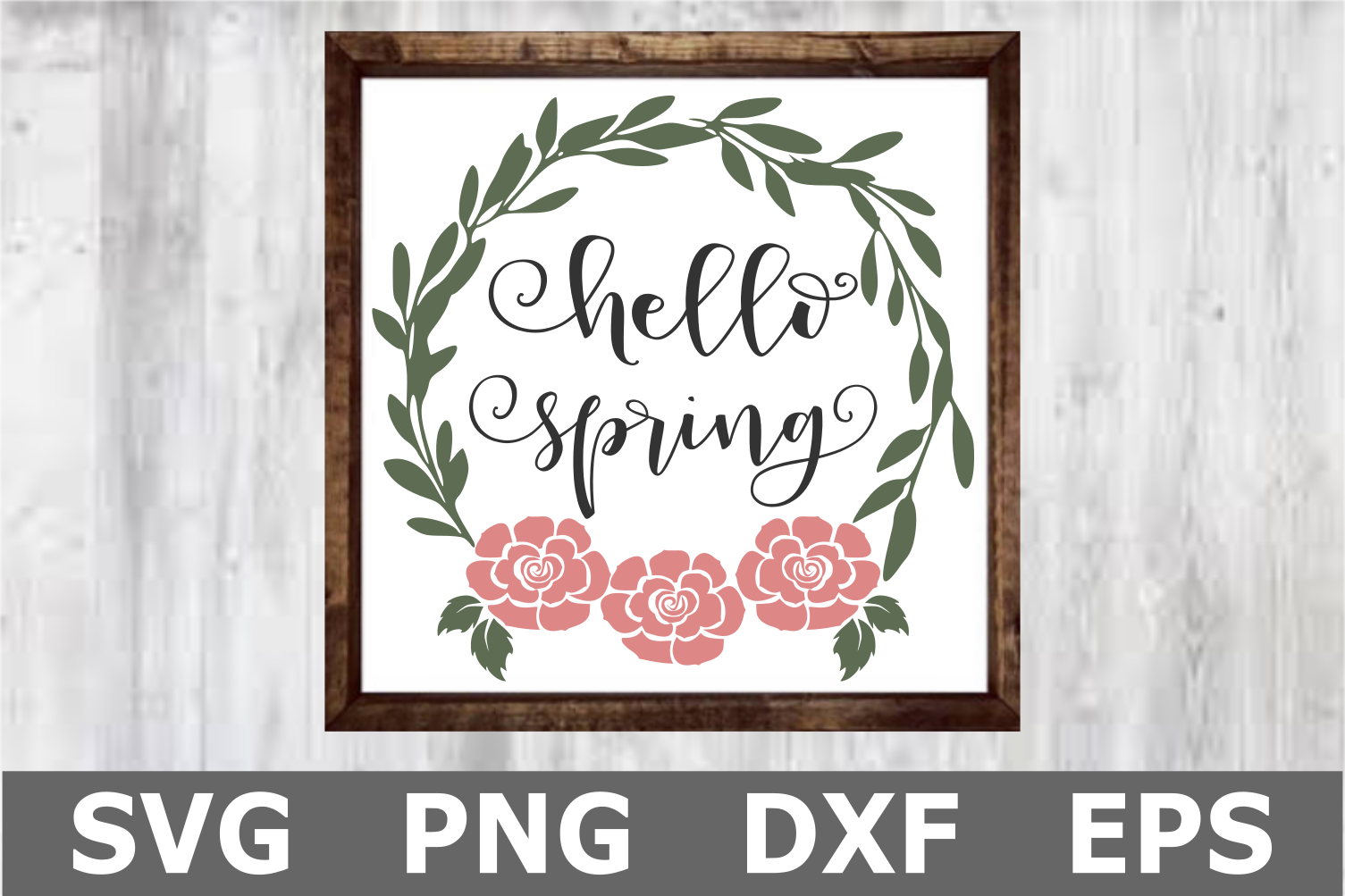 Hello Spring - A Wreath SVG Cut File example image 1