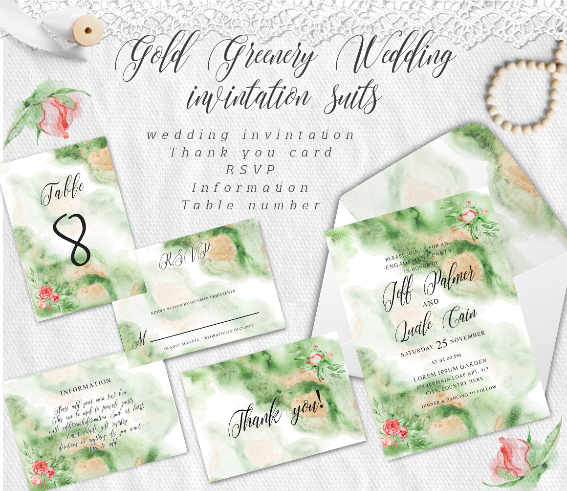 Gold Greenery floral Watercolor Wedding Invitation suite example image 6