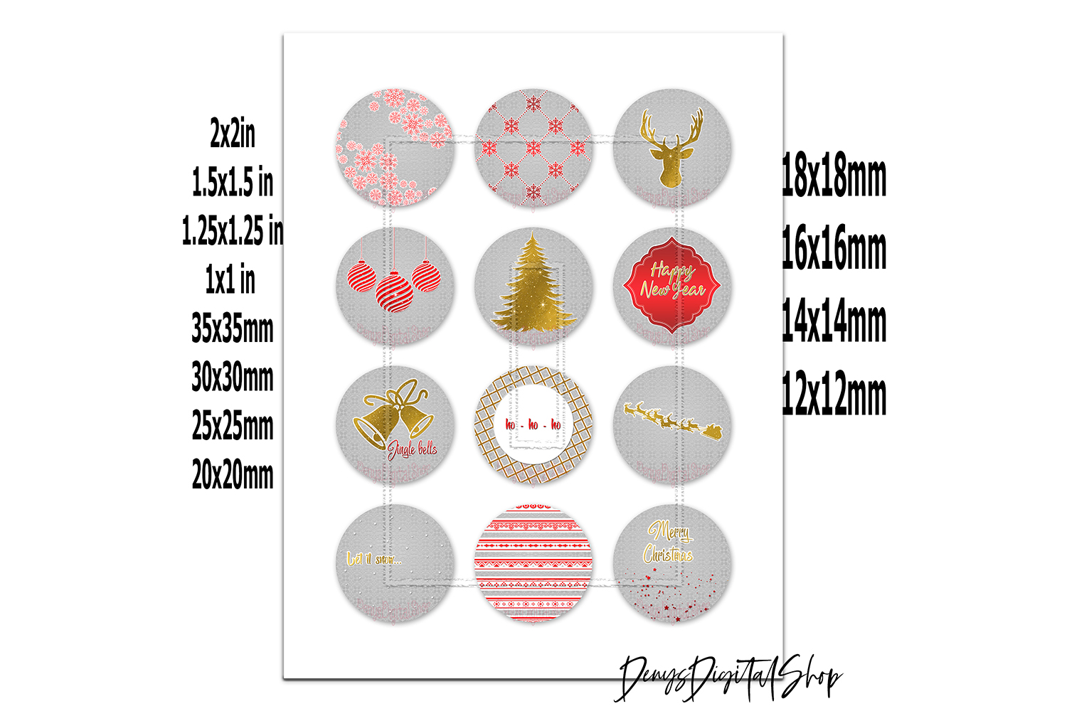 Golden Christmas,Images Digital,Christmas Circles,Printable example image 2