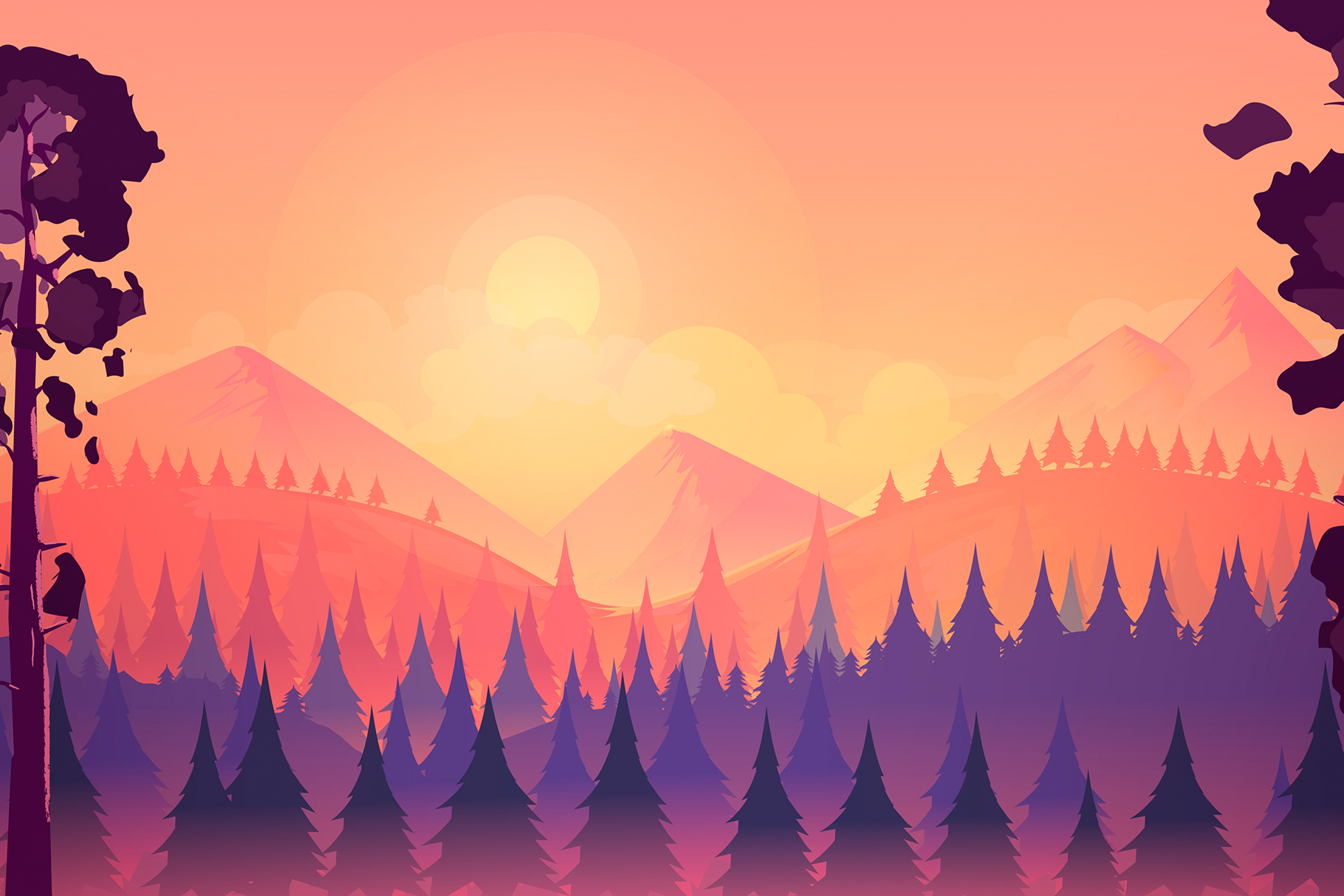 Sunset landscape with mountain and forest example image 1
