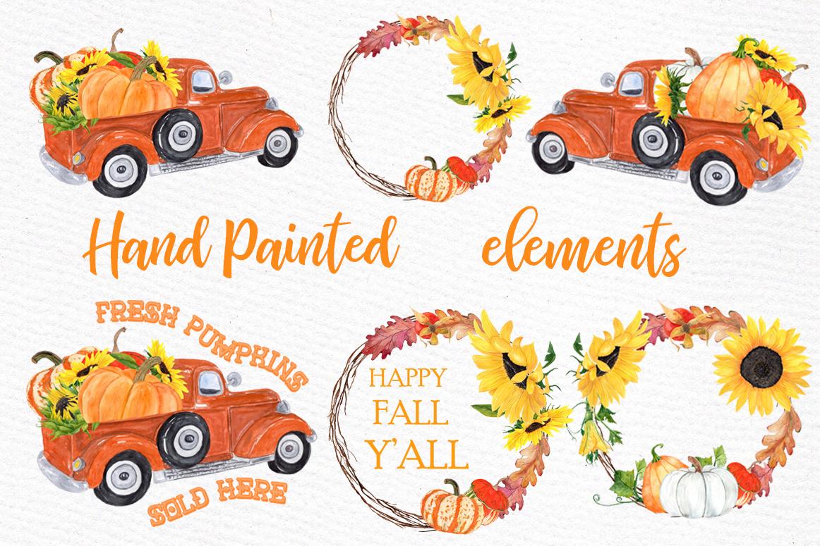 Pumpkin Clipart, TRUCK WITH PUMPKINS, Thanksgiving clipart example image 3