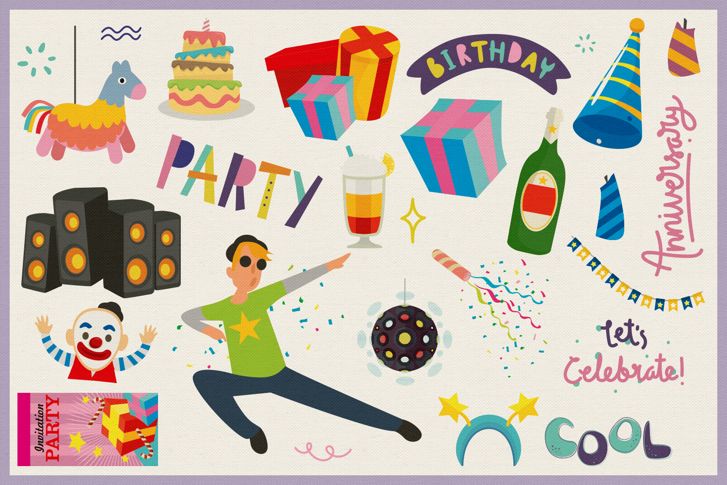 80 All About Party Vector Clipart & Seamless Patterns example image 4