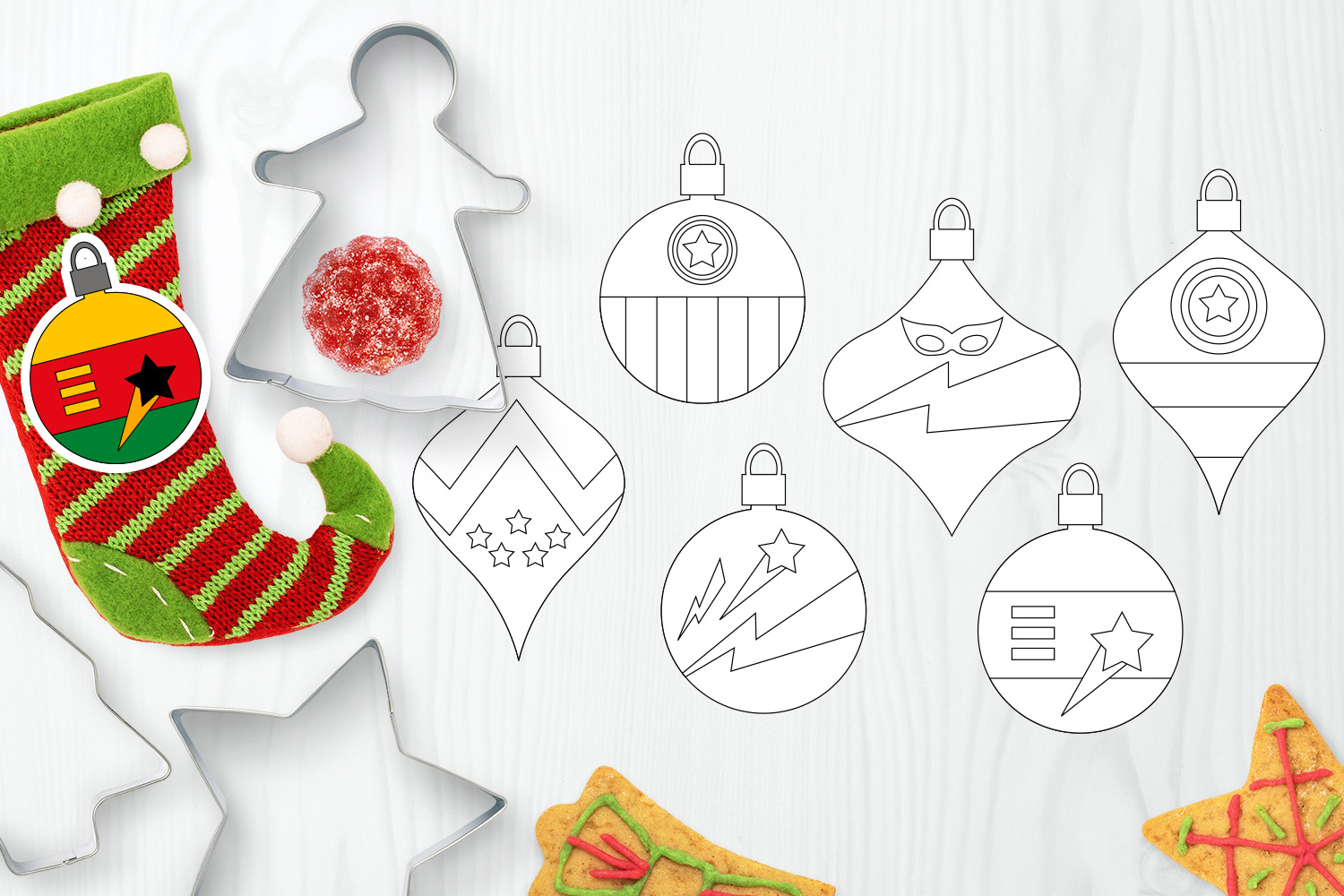 Bundle - Christmas ornaments and Gingerbread Graphics example image 7
