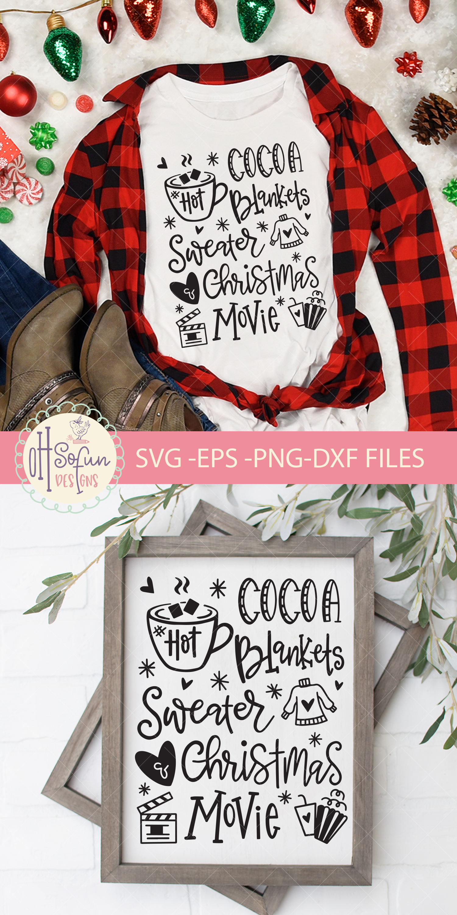 Hot cocoa blankets sweater Christmas movie, SVG example image 4