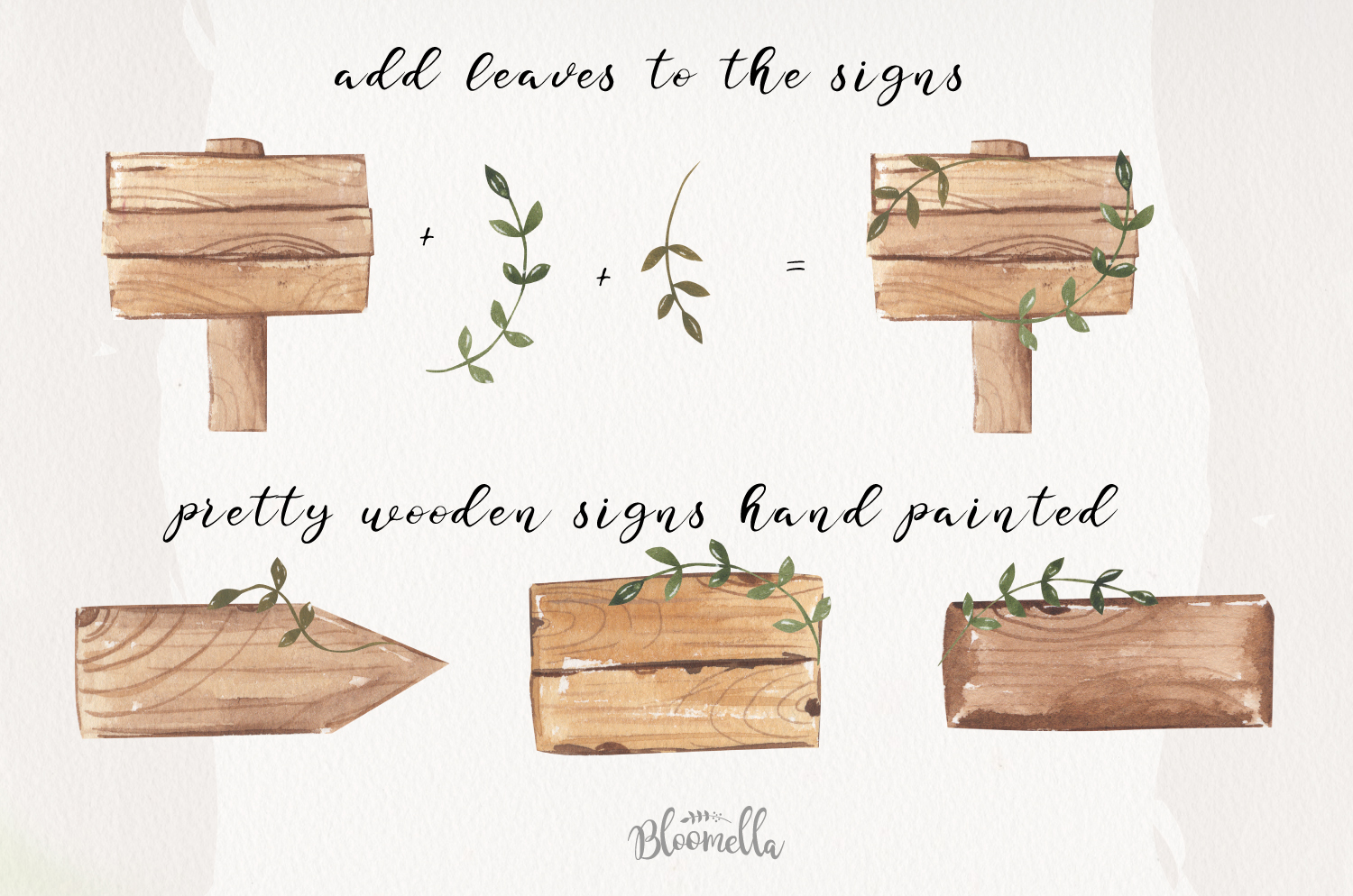 Watercolor Wood Signs Elements Woodland Wedding Leaves example image 4