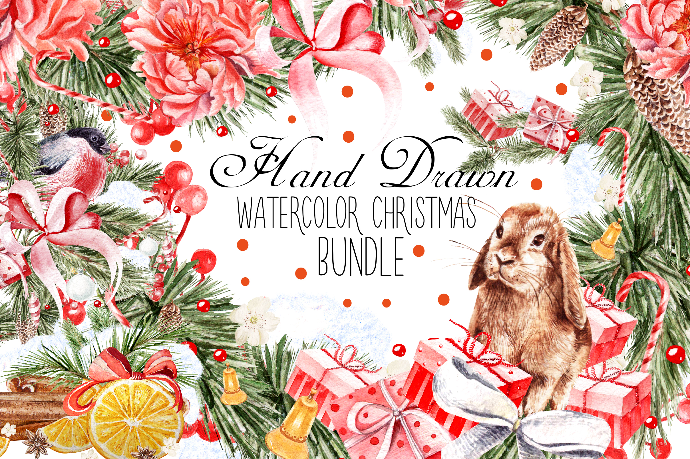 HandDawn Watercolor Christmas BUNDLE example image 1