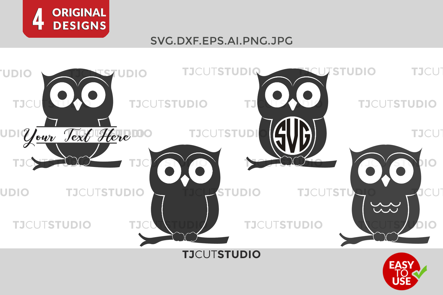 Owl SVG, Owl Monogram , Owls Monogram, Monogram Owl, Svg Files for Silhouette Cameo or Cricut Commercial & Personal Use example image 1