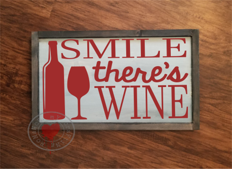 Smile There's Wine - SVG - Cut File example image 2