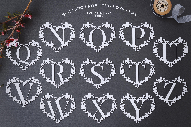 Heart A-Z Alphabet - Papercut SVG DXF PNG EPS JPG PDF example image 3