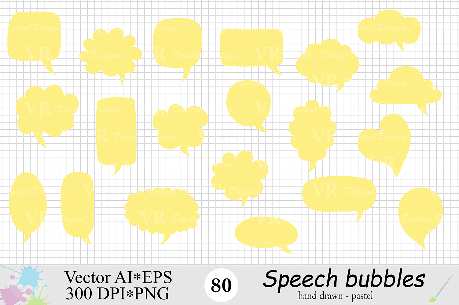 Speech Bubbles Clipart / Chat Bubbles / Hand drawn Text bubbles / Pastel Word Bubbles - Vector example image 5