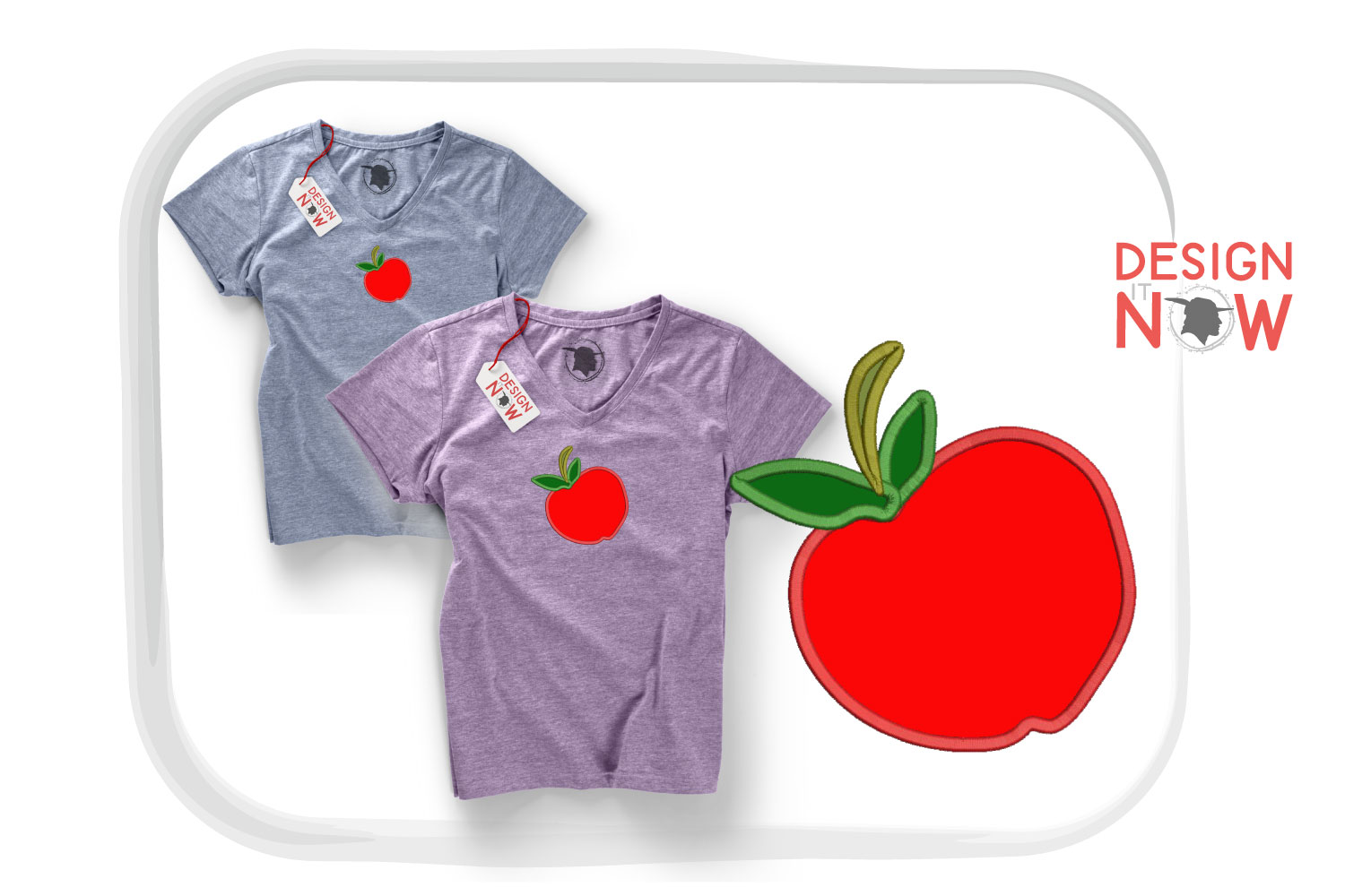 Apple Applique Embroidery Design, Fruits Embroidery example image 1