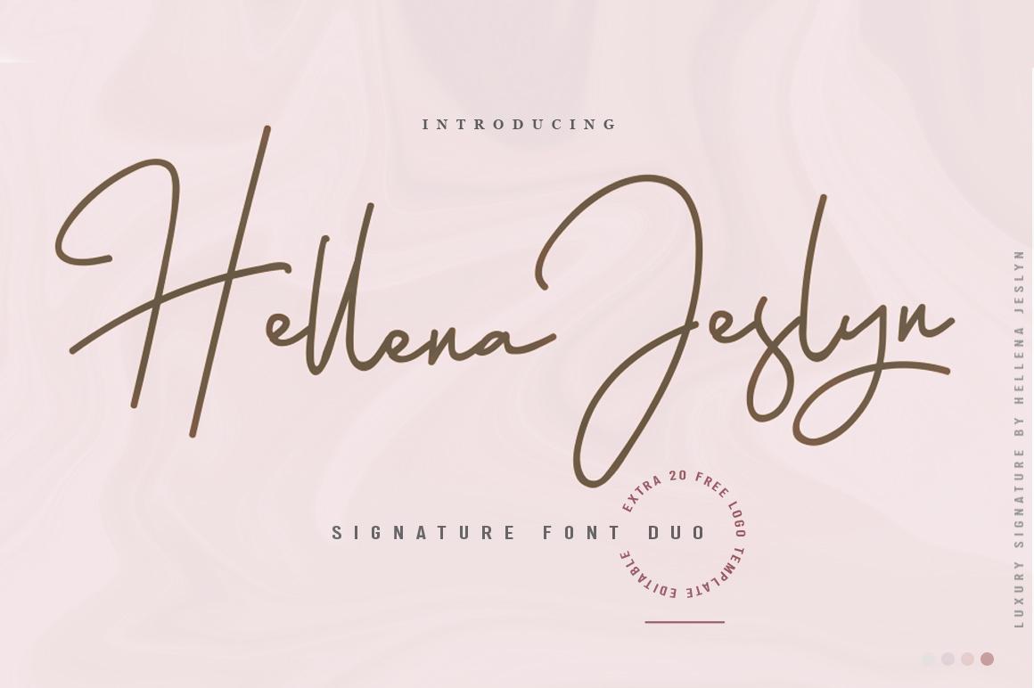 Hellena Jeslyn Signature Font Duo Free Logo example image 1