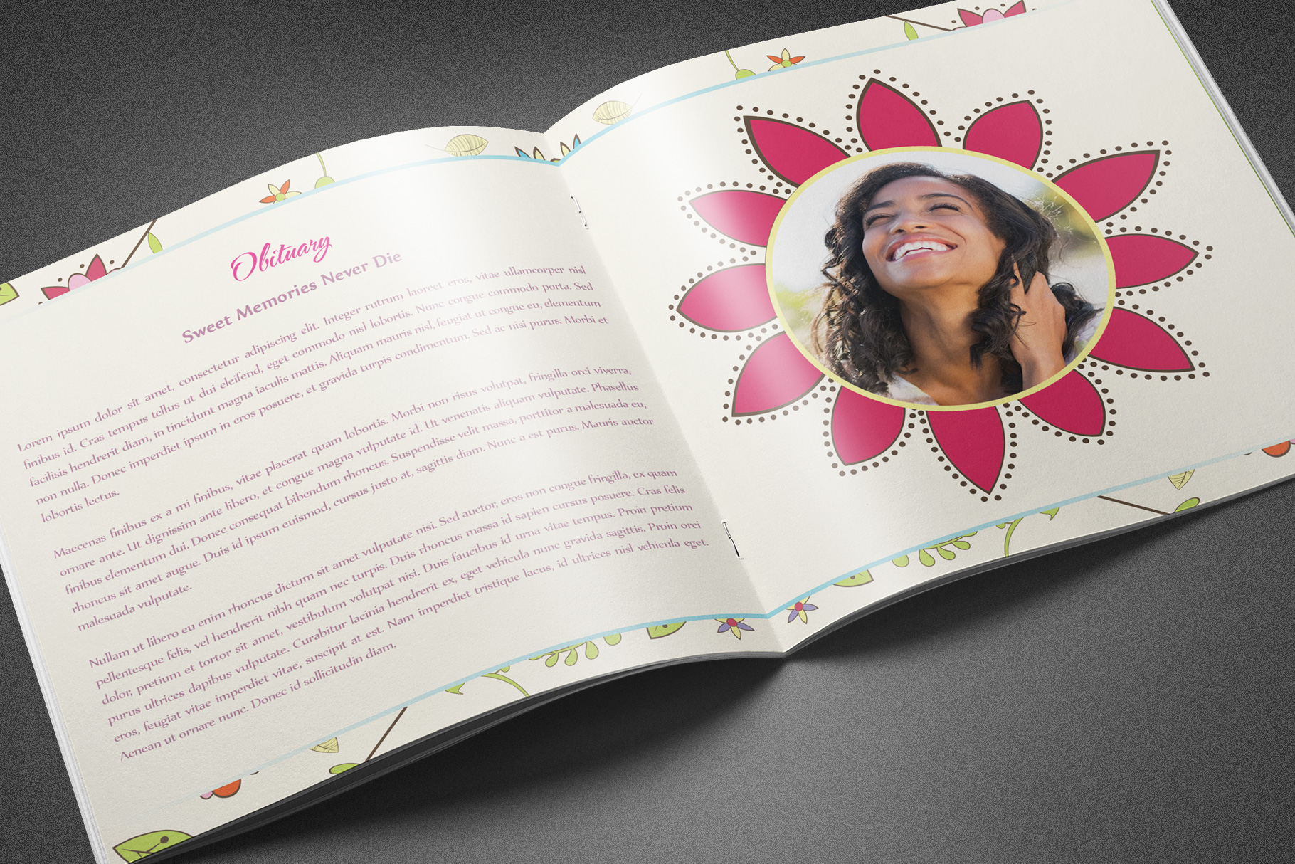 Floral Dreams Funeral Program example image 3