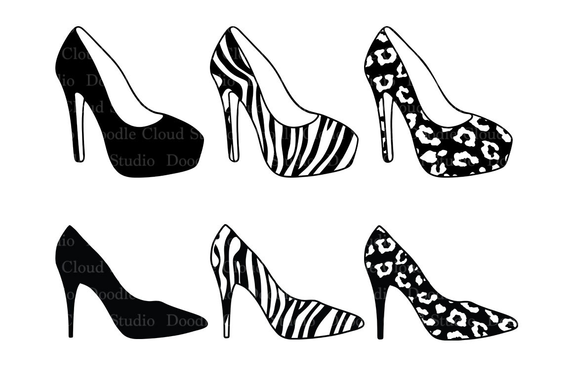 Women's high heel shoes SVG files for Silhouette Cameo and Cricut. l Leopard shoes  Zebra shoes SVG. Shoes clipart PNG included example image 1