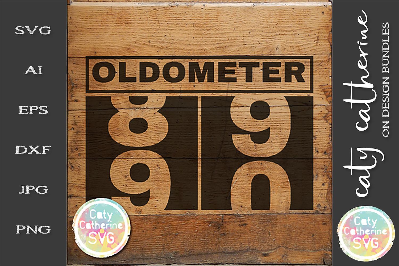 90 Ninety Ninetieth Birthday Oldometer SVG Cut File example image 1