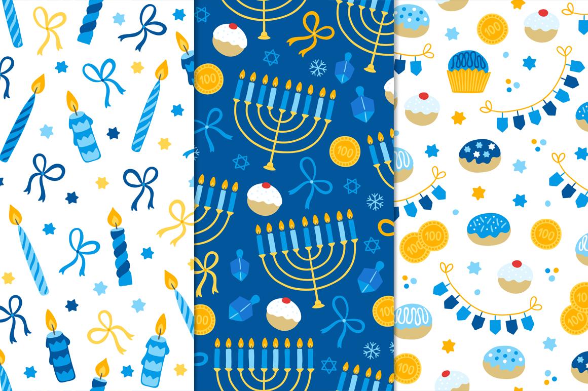 12 Hanukkah Seamless Patterns example image 5
