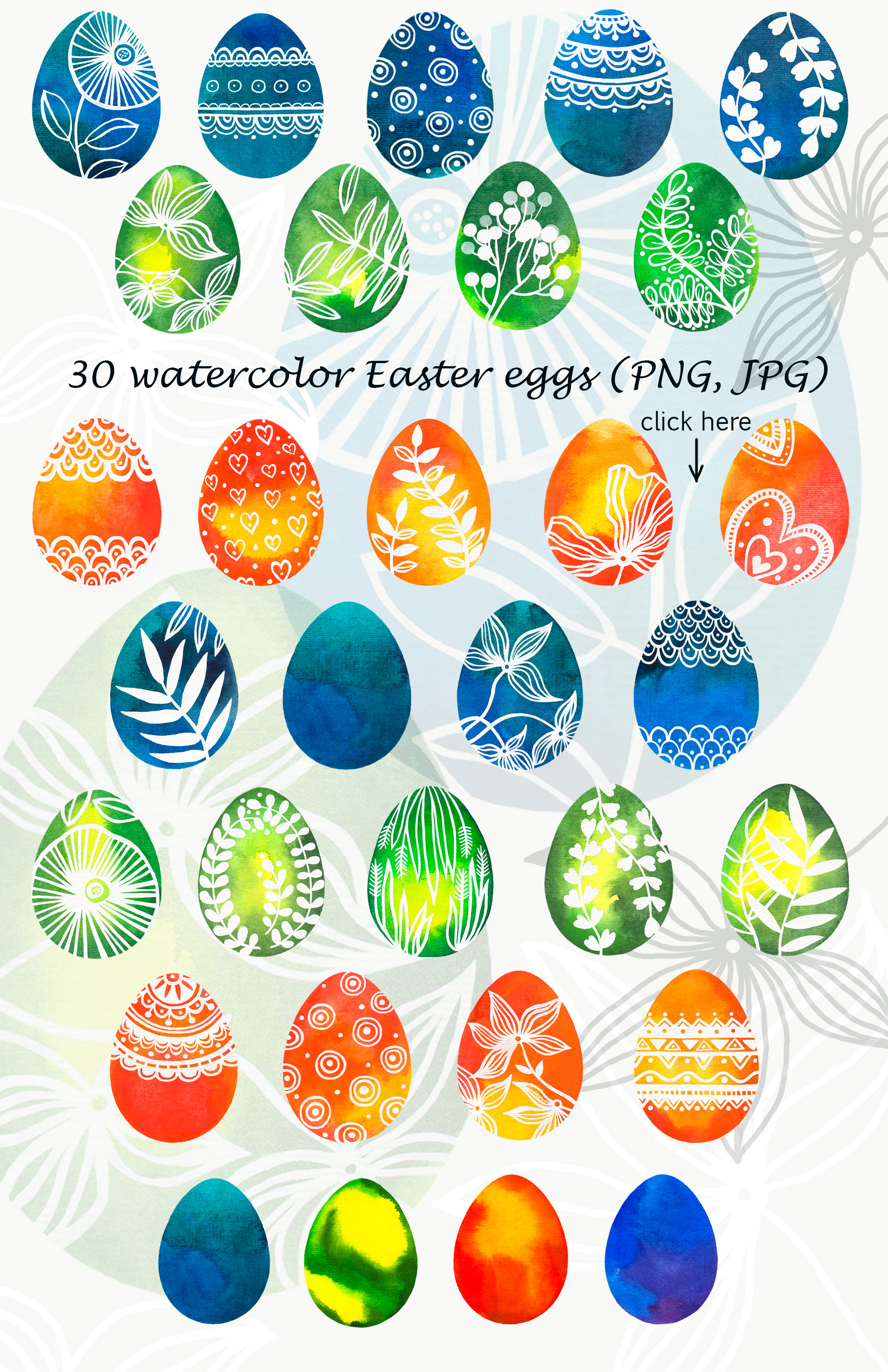 Watercolor Easter eggs, patterns example image 2