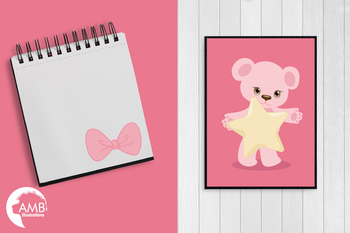 Teddy bear, nursery, baby girl, baby pink bear, clipart, graphics, llustrations AMB-1450 example image 5