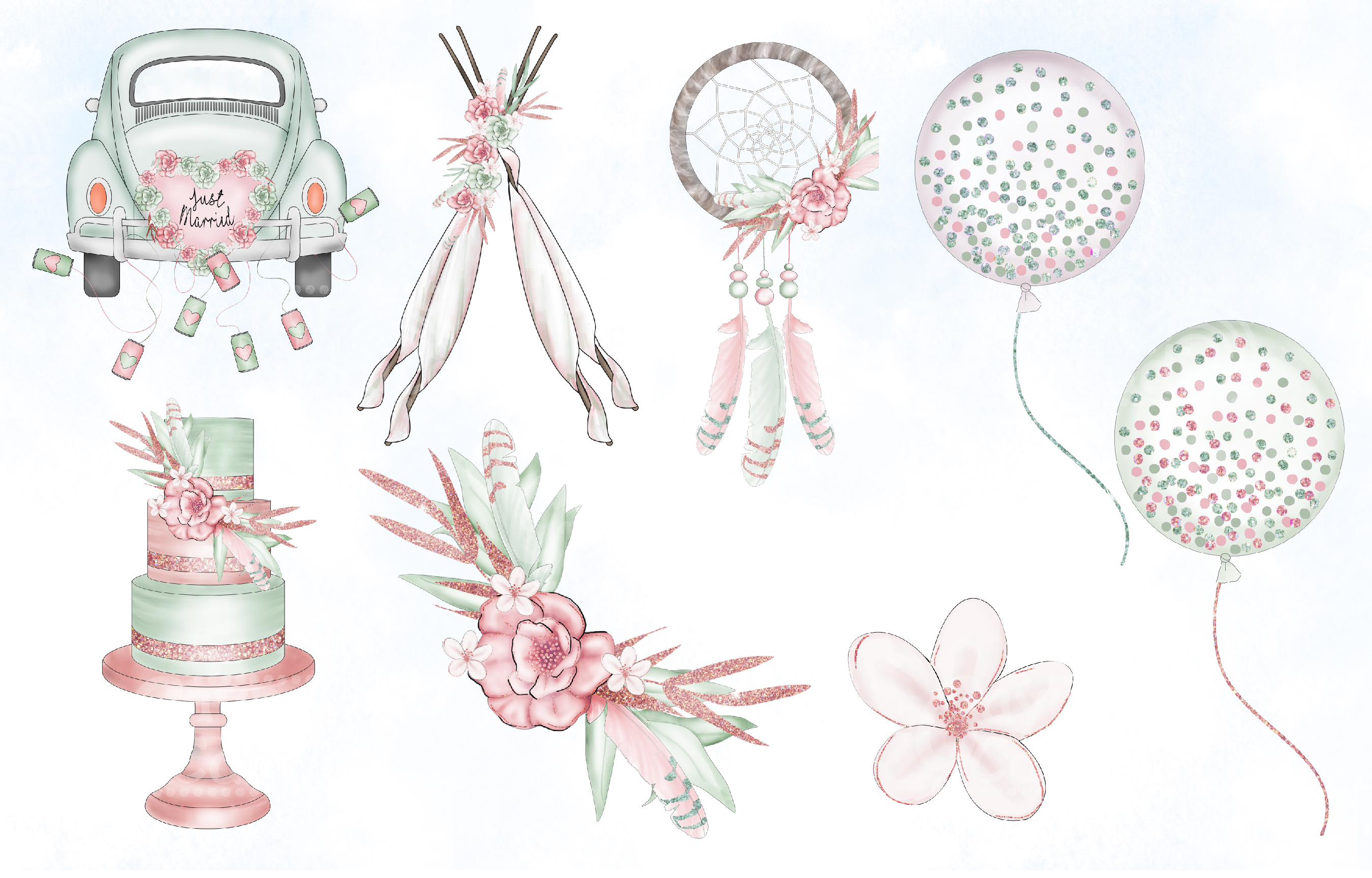 Blush & Sage Wedding clipart collection example image 3