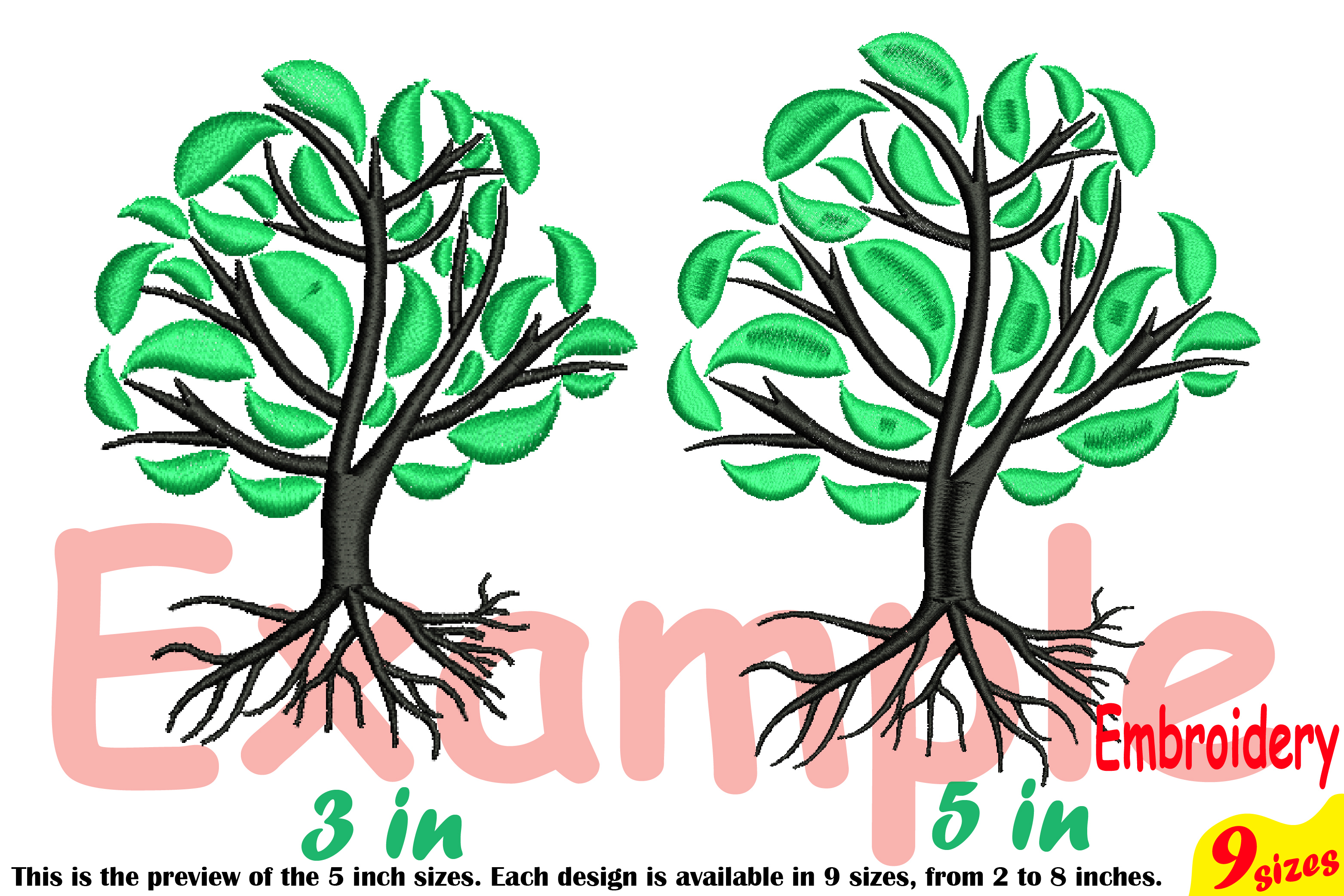 Family Tree Embroidery Design Machine Instant Download Commercial Use digital Outline family love Deep Roots Branches 204b example image 3