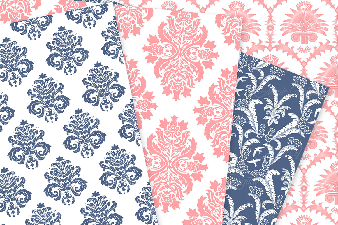 Coral and Navy Damask Patterns - Seamless Digital Papers example image 4
