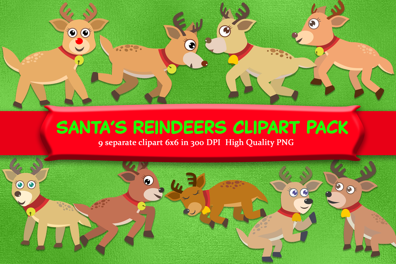 Reindeer Clipart Pack with 9 Santa's reindeer example image 1