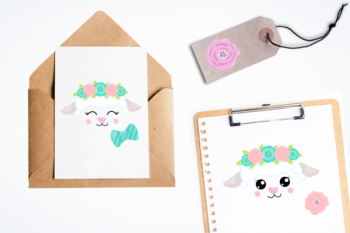 Kawaii Spring Lambs graphic and illustrations example image 4